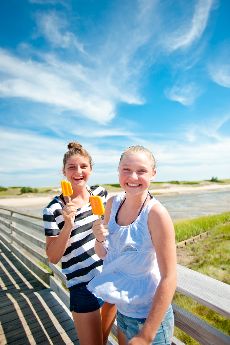 Teens with ice cream Ogunquit beach Maine